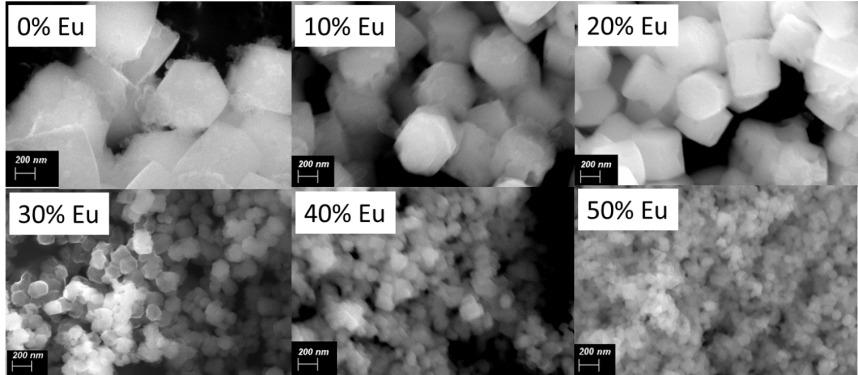 Микрофотографии частиц NaYF4: Eu3  с различным содержанием ионов европия, полученные с помощью электронной микроскопии