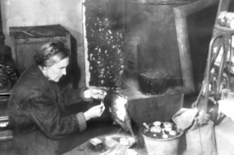 С. А. Гуцевич ведет работу по эксперименальному разведению грибов (годы блокады)