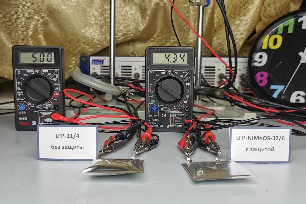 Прототипы защищенного (справа) и обычного (слева) аккумулятора после нештатной ситуации — перезаряда. Обычный аккумулятор вздулся из-за выделившихся газов и может взорваться. Защищенный аккумулятор остался плоским.