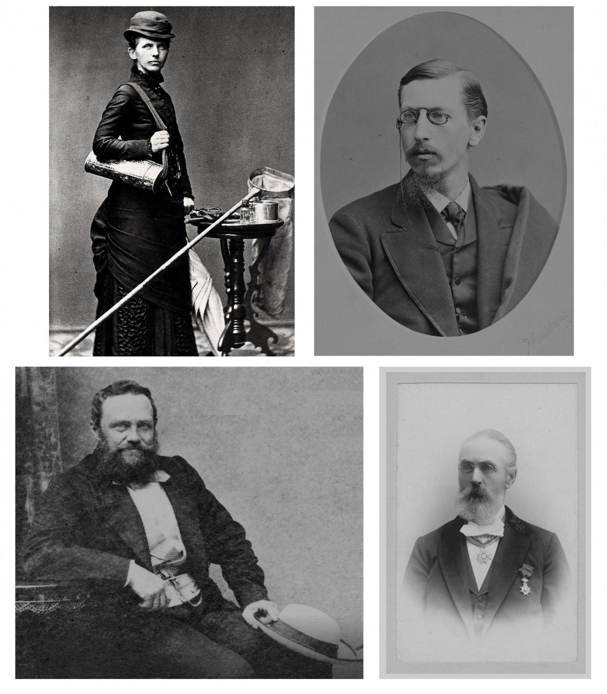 Исследователи арктических континентальных моллюсков прошлого. Верхний ряд: Биргит Эсмарк и Уильям Далл. Нижний ряд: Александр Миддендорф и Карл Вестерлюнд