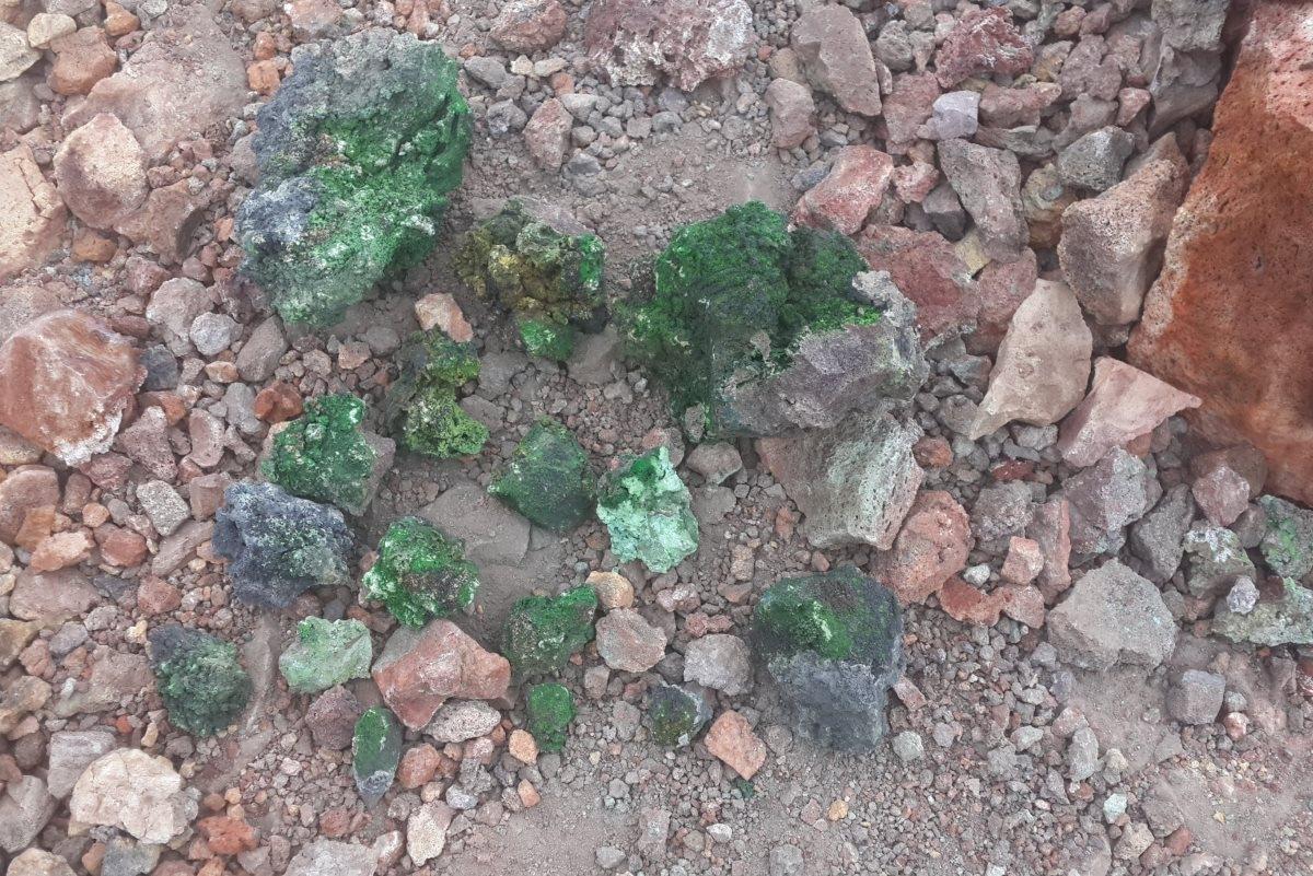 Отобранные образцы минералов из фумаролы «Ядовитая» на Втором шлаковом конусе вулкана Толбачик