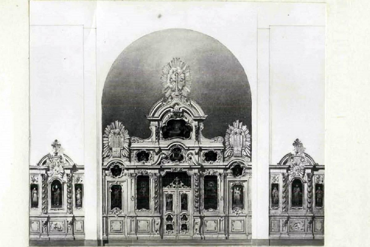 Вариант проекта иконостаса Смольного собора, архитектор М. Е. Месмахер, 1874