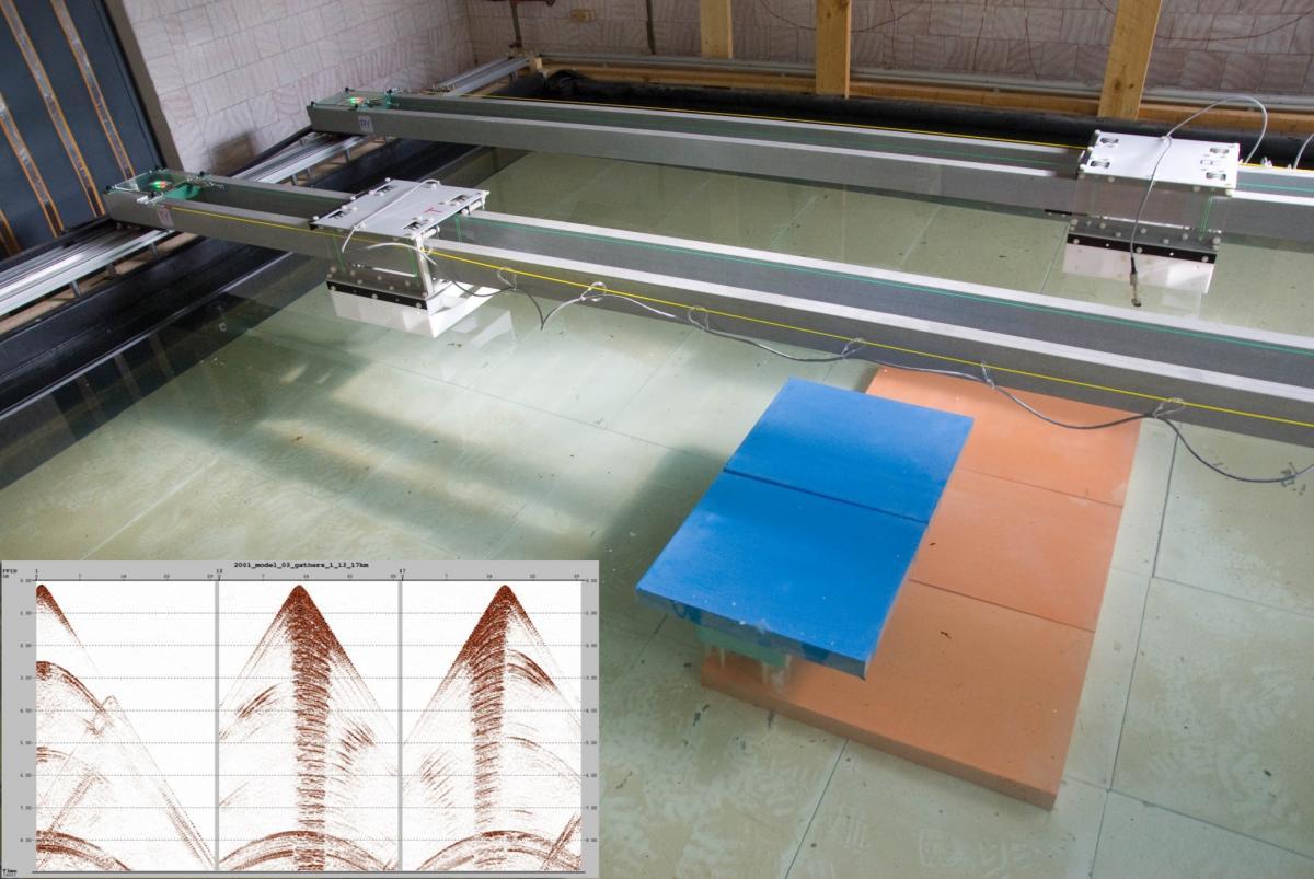 Модель соляной структуры в измерительном бассейне и сейсмограммы ОТП в разных точах секущего профиля