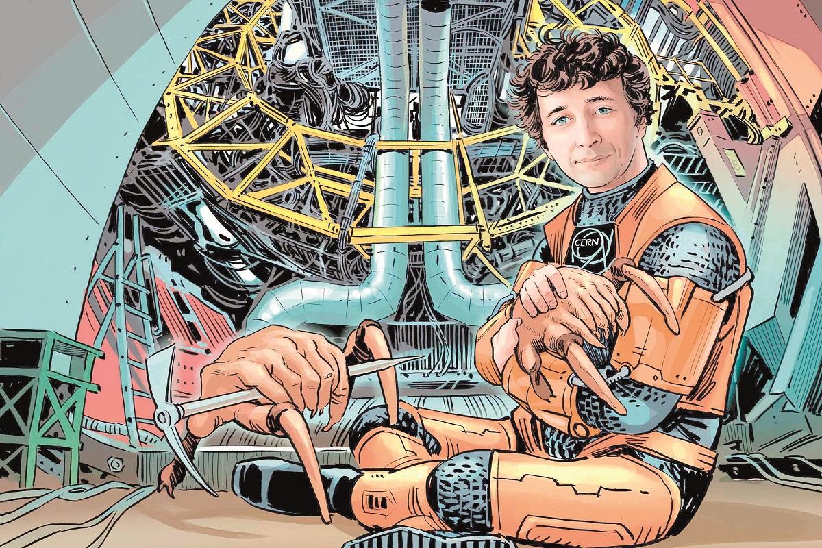 Из личного архива Андрея Серякова, научного сотрудника СПбГУ (лаборатория физики сверхвысоких энергий). На рисунке он в ЦЕРН. Рисунок создан по мотивам игры Half-Life.
