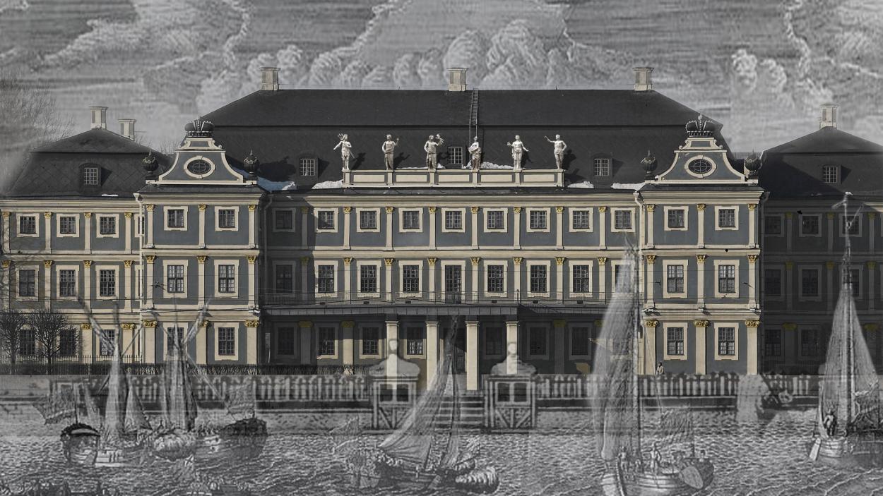 Реконструкция цвета окраски фасада Меншиковского дворца до 1720 года