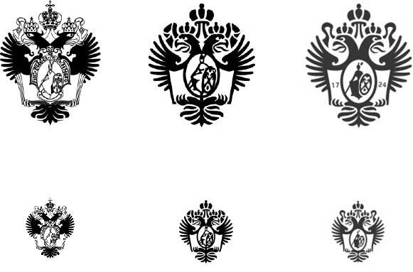 Эволюция герба: текущая полная версия (слева), текущая упрощенная версия (посередине), новая веб-версия (справа)