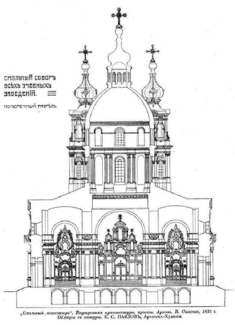 Поперечный разрез Смольного собора. Обмерный чертеж архитектора Е.С. Павлова, 1908